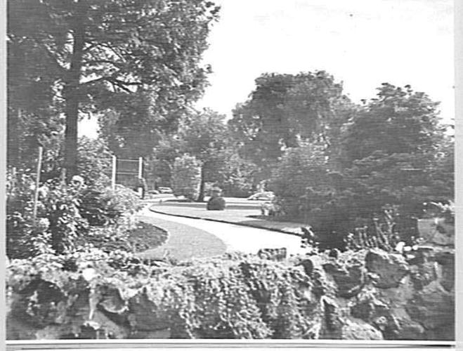 Black and white photograph of gardens in 1935